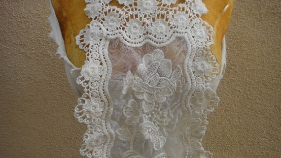 Ivory color    venice  embroidered applique yoke 19 1/2 inches shoulder down 8 inches wide