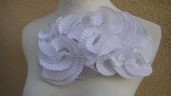 Cute embroidered  ruffled   applique white   color