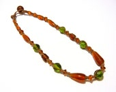 Simple (Yet Fancy) Beaded Hemp Necklace, Green and Amber