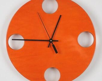 "POP Clock in Orange, 10"" Modern Wall Clock"