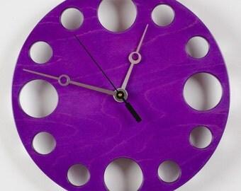 """POP Clock in Purple, 10"""" Modern Wall Clock"""