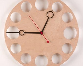 """POP Clock in Maple, 18"""" Modern Wall Clock"""