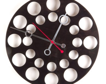 "POP Clock in Black, 18"" Modern Wall Clock"