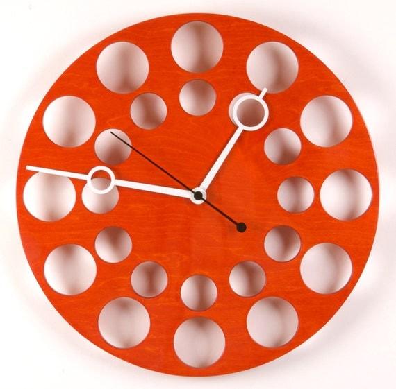 "POP Clock in Orange, 18"" Modern Wall Clock"
