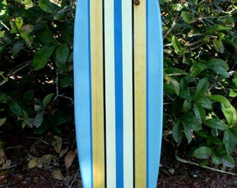 Blue Tropical Classic Pinstripe Style Longboard Surfboard Wall Art Solid Wood FL