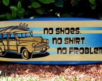 No Problems Ocean Blue Tropical Surfboard Horizontal Wall Art Solid Wood Beach Home Decor Woody