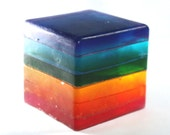 Rainbow Soap Cube - stripes, glycerin, custom scent, rainbow, kids, fun, party favor, rainbow party, pride, wedding, baby shower