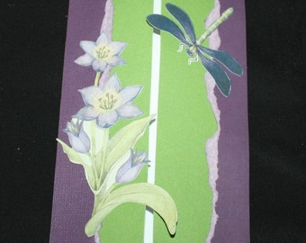 Green and Purple and Dragonflies - blank card, daffodils, thank you, birthday, purple and green