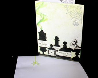 Bottles and Spiders and Smoke, oh my - Halloween Card, Samhain, spider, apothecary, spells, magic, green, black
