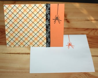 Some Itsy Bitsy Spiders (Halloween Card), orange and black, blank card, samhain, ooak, one of a kind, spiderweb, plaid, matching envelope