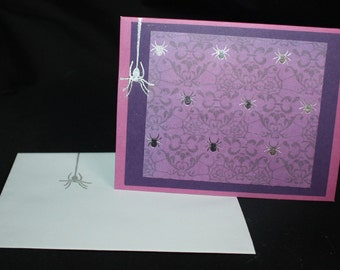 Halloween Card - Spiders Heading North and South - purple, silver, rubberstamped, ooak, samhain, blank card
