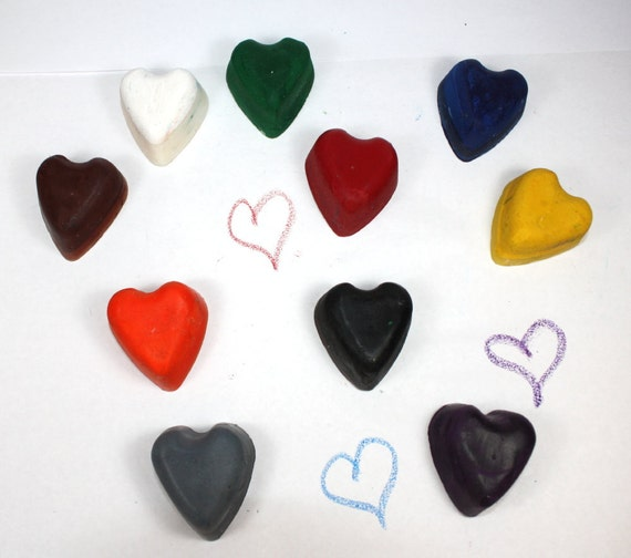 Ten Little Heart Shaped Recycled Crayons - reuse, party favors, school supplies, coloring, art, drawing, kids, boys, girls, back to school