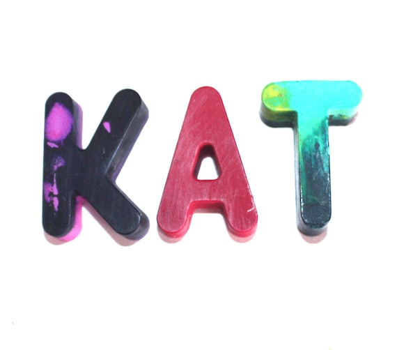 Back to School 3 Letter Name/Initials in Recycled Crayon - kids, children, art, coloring, party favor, art supply, school supply