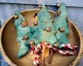 Primitive Folk Art Winter Christmas Tree Ornies On Cinnamon Sticks Set Of 3-FAAP