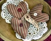 Primitive Folk Art Heart Ornies Full Of Love Ornies-Bowl Fillers-Set Of 3