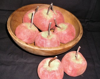 Primitive Large Red Apple Fruit  Ornies-Bowl Fillers-Set Of 5