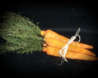 Primitive Folk Art Spring Garden Fresh Carrot Ornies-Set Of 3