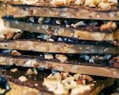 Nantucket Holiday Artisan Toffee, English Toffee, Butter Crunch  9oz. Dark Chocolate Bark