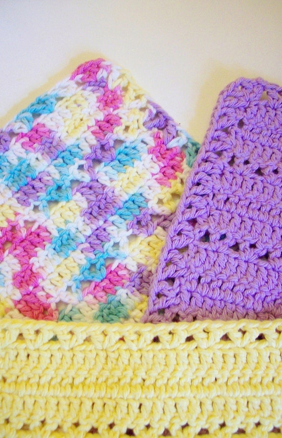Dish or Washcloths Crocheted Lilac, Yellow, and Variegated Pink, Yellow, Aqua, Lilac, White1910 Vintage Reproductions V-Pattern