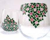Wine Glasses Hand Painted Rose Bush- Set of 2
