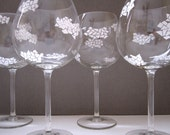 Painted Wine Glasses Clouds- Set of 4
