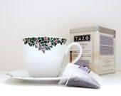 Rose Mosaic Teacup and Saucer Set