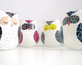 Painted Wine Glasses with Various Owls- Set of 4