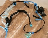 Black and Robins Egg Blue Necklace from Recycled Vintage Jewelry