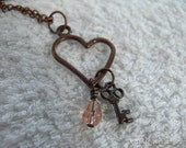 Key to Her Heart, Copper Rosa Necklace