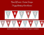 Retro Birthday Party - Instant Download DIY Printable Birthday PENNANT BANNER
