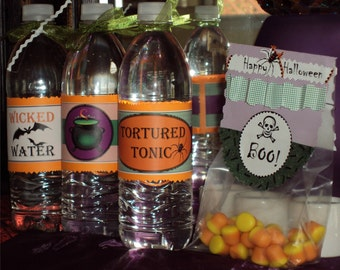 DIY PRINTABLE Halloween Water or Soda Bottle Wrappers - Instant Download