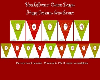 Happy Christmas Retro Pennant Banner  DIY PRINTABLE - Instant Download