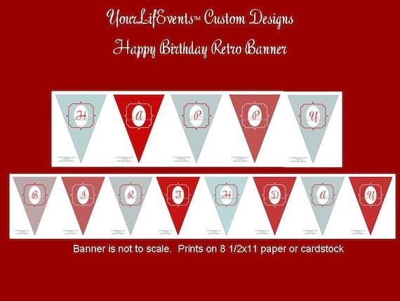 Retro Birthday Party - Instant Download DIY Printable Birthday PENNANT BANNER