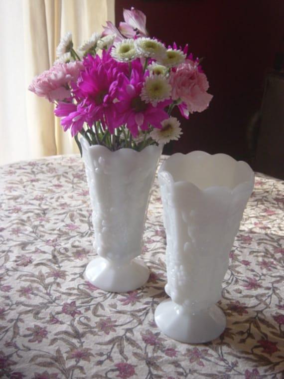 Pair of Westmoreland Paneled Grapevine Large Milk Glass Vases Footed Wedding Holiday