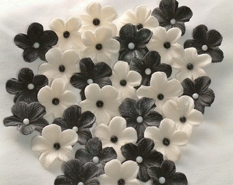Cake Decorations Black and White Cherry Blossoms Gumpaste Flowers 25 piece set