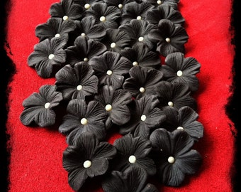 Gum Paste Blossoms Black with Ivory Dragee