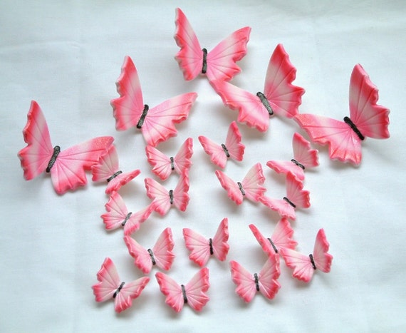 24 Pink & Electric Pink  Butterflies Gum Paste Edible