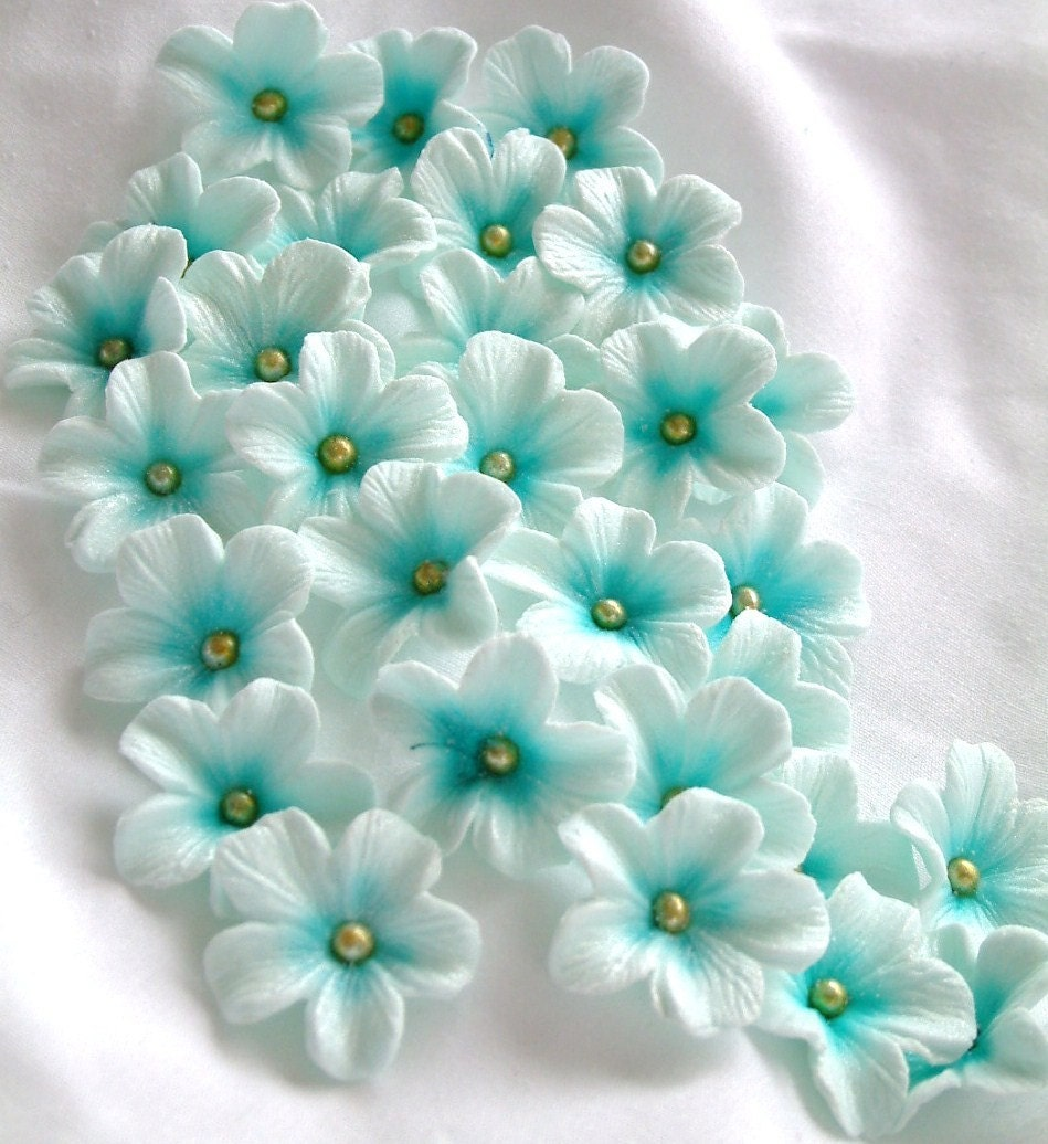 Cake Decorating Gum Paste Nz : Gumpaste Cake Decorations Tiffany Blue Gum Paste Flowers 25