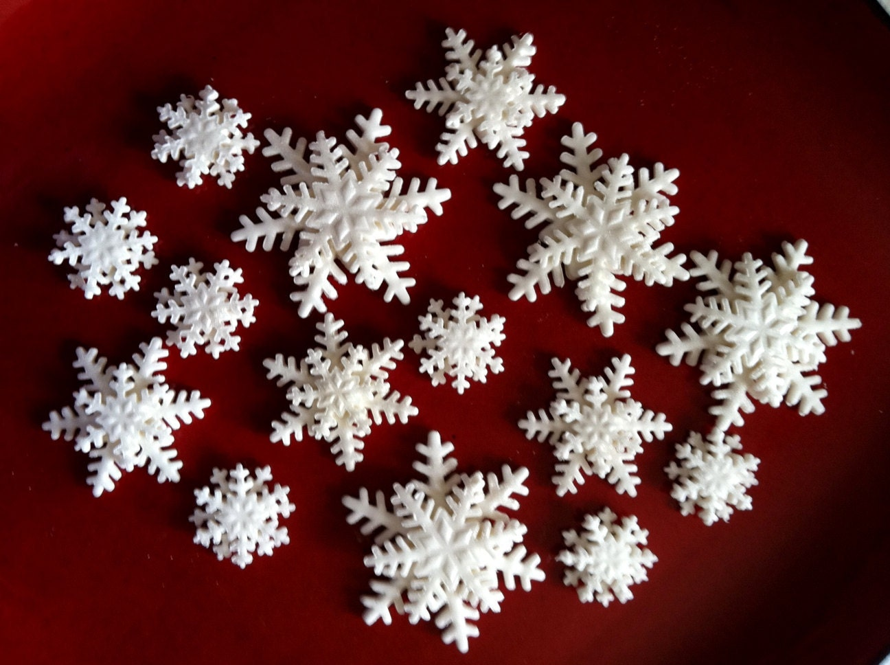 cake decorations edible snowflakes assorted sizes gum paste