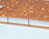 on hold for michelle----ICELAND - blank book , coptic stitch , copper , texture , one of a kind, roundtheworldin80pgs