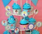 Little Mermaids Custom Cupcake Toppers and Wrappers - DIY Printable