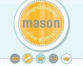 "Graduation Class of 2013 2"" inch CUSTOM circles - DIY Printable"