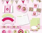 Pink Jungle Safari Baby Shower Custom Printable Party Pack - DIY