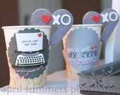 Valentine You're Just My Type Printable Party - Red and Gray - DIY