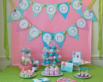Little Mermaids Happy Birthday Banner - DIY Printable