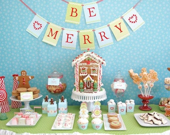 Gingerbread Christmas Cookie Printable Party Collection - DIY - SALE