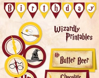 Wizard Birthday printable banner and 2 inch circles - DIY - SALE