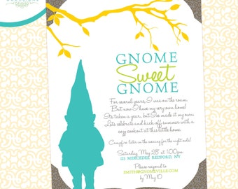 Gnome Sweet Gnome Housewarming Custom Invitation - DIY Printable