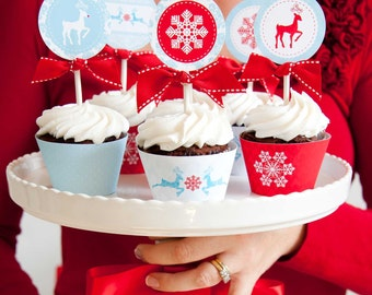 Merry Little Christmas Printable Cupcake Toppers and Wrappers
