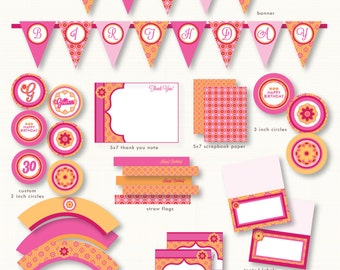 Hot orange and Pink Hothouse Flowers Custom Printable set